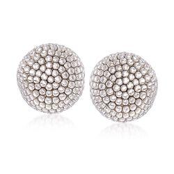 Italian Sterling Silver Beaded Dome Earrings, , default