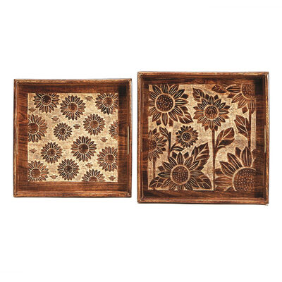Set of 2 Carved Sunflower Wooden Trays