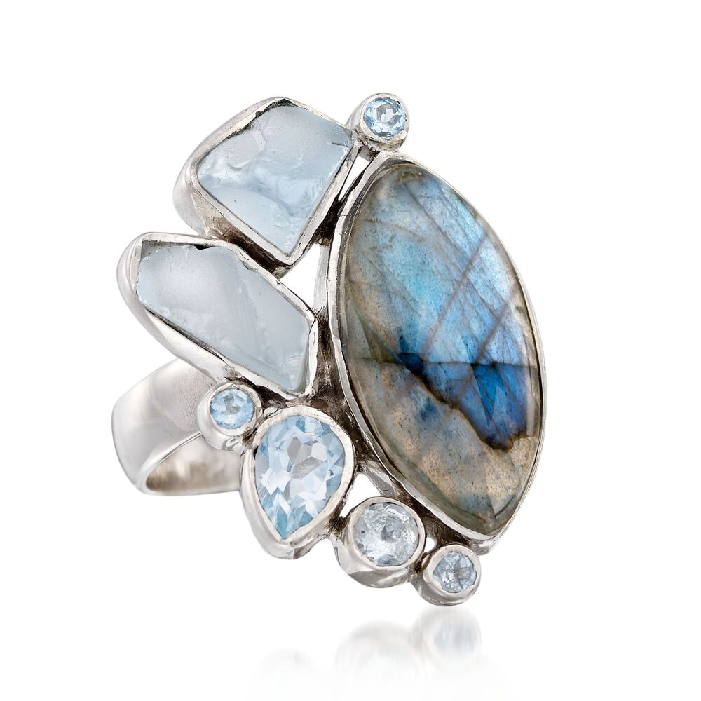 dad738d73 Labradorite and 2.39 ct. t.w. Blue Topaz Free-Form Ring in Sterling ...