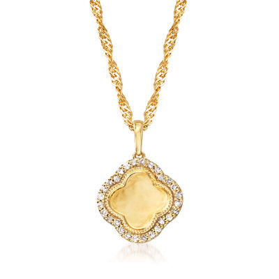 .15 ct. t.w. Diamond Clover Pendant Necklace in 18kt Gold Over Sterling