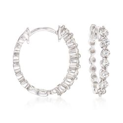 ".50 ct. t.w. Diamond Huggie Hoop Earrings in 14kt White Gold. 1/2"", , default"