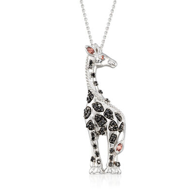 Black and Brown CZ Giraffe Pendant Necklace in Sterling Silver, , default