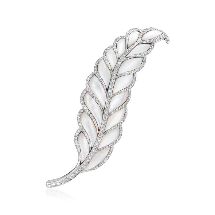 C. 1980 Vintage Mother-Of-Pearl and 2.50 ct. t.w. Diamond Feather Pin in 18kt White Gold