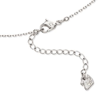 "Swarovski Crystal ""Sparkling Dance"" Floating Crystal Heart Necklace in Silvertone. 14.75"""