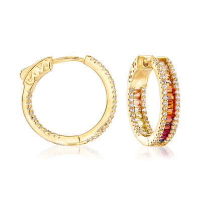 Multicolored CZ Hoop Earrings in 18kt Yellow Gold Over Sterling Silver, , default