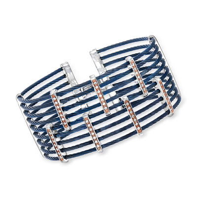"ALOR ""Classique"" .41 ct. t.w. Diamond Multi-Row Blue Stainless Steel Cable Bracelet with 18kt Rose Gold"