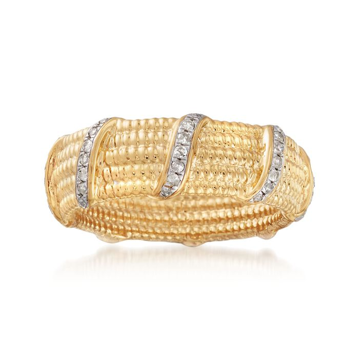 .25 ct. t.w. Diamond Swirl Station Ring in 18kt Gold Over Sterling