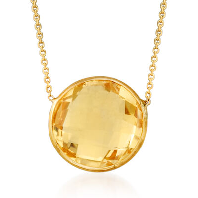 3.20 Carat Citrine Necklace in 14kt Yellow Gold