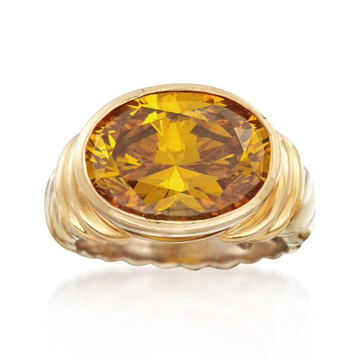 C. 2000 Vintage 8.30 Carat Yellow CZ Ribbed Ring in 14kt Two-Tone Gold. Size 7, , default