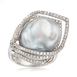 Cultured Baroque Pearl and 1.05 ct. t.w. Diamond Ring in 18kt White Gold, , default