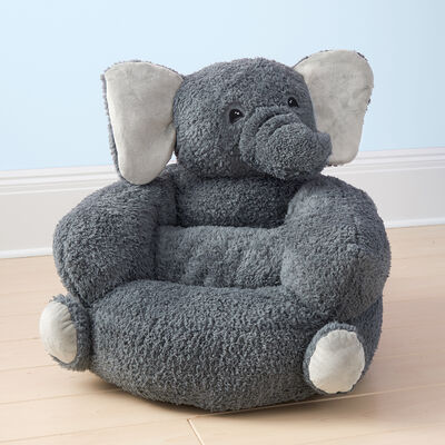 Children's Plush Gray Elephant Chair, , default