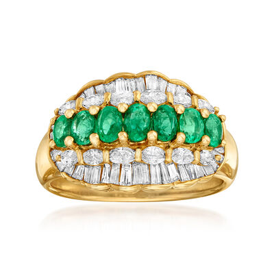 C. 1980 Vintage .94 ct. t.w. Emerald and 1.12 ct. t.w. Diamond Ring in 18kt Yellow Gold, , default
