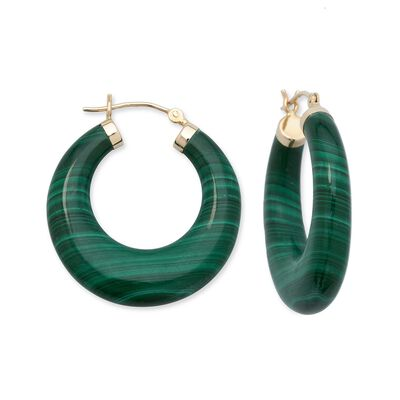 Malachite Hoop Earrings in 14kt Yellow Gold, , default