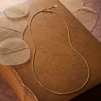 1.2mm 14kt Yellow Gold Adjustable Popcorn Chain Necklace, , default
