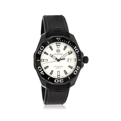 TAG Heuer Aquaracer Nightdiver Men's 43mm Black Titanium Watch With Rubber, , default