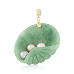 Green Jade and  6-6.5mm Multicolored Cultured Pearl Shell Pendant in 14kt Yellow Gold, , default