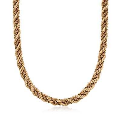 C. 1990 Vintage Tiffany Jewelry 14kt Yellow Gold Rope Necklace, , default