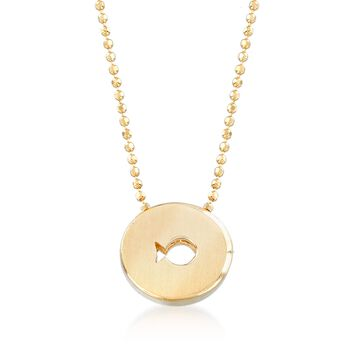 """C. 2000 Vintage Alex Woo """"Disney Pixar's Finding Dory"""" Dory Fish Cutout Disc Necklace in 14kt Yellow Gold. 16"""", , default"""