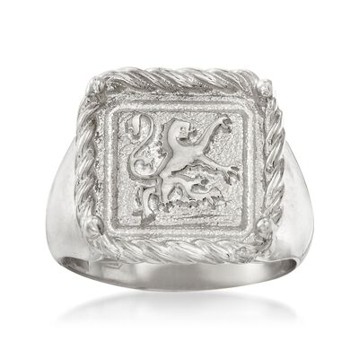 Italian Sterling Silver Square-Top Gryphon Ring, , default