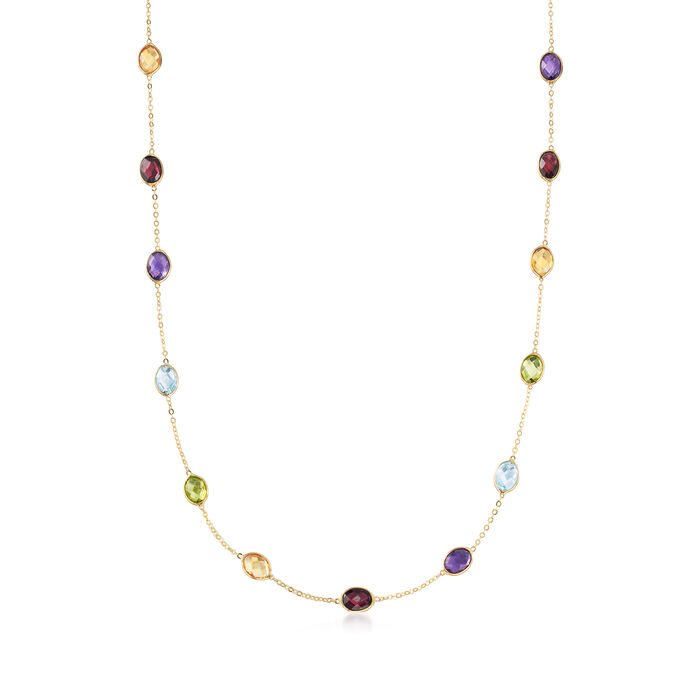 17.50 ct. t.w. Multi-Gemstone Station Necklace in 14kt Yellow Gold