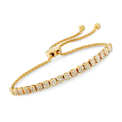 1.00 ct. t.w. Diamond Cluster Bolo Bracelet in 18kt Gold Over Sterling