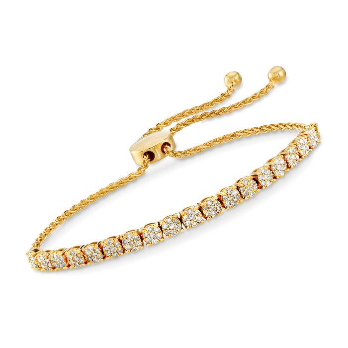1.00 ct. t.w. Diamond Cluster Bolo Bracelet in 18kt Gold Over Sterling