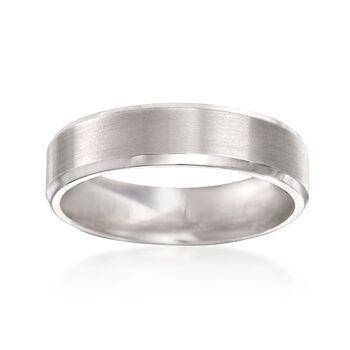 Men's 6mm 14kt White Gold Comfort-Fit Wedding Ring, , default