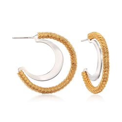 Italian Two-Tone Sterling Silver Open Hoop Earrings, , default