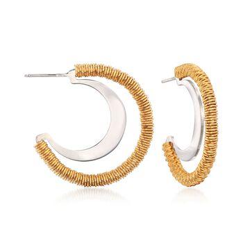 """Italian Two-Tone Sterling Silver Open Hoop Earrings. 1"""", , default"""