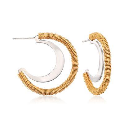 Italian Two-Tone Sterling Silver Open Hoop Earrings, , default