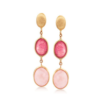 Italian Pink Opal and 1.60 ct. t.w. Ruby Drop Earrings in 14kt Yellow Gold