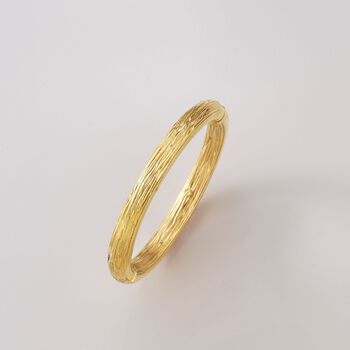"Italian 18kt Yellow Gold Textured and Polished Bangle Bracelet. 7"", , default"