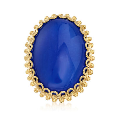 Italian Blue Quartz Cocktail Ring in 18kt Yellow Gold Over Sterling