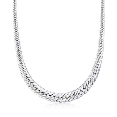 Italian 18kt White Gold Cuban Link Graduated Necklace, , default