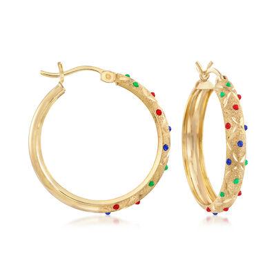 Multicolored Enamel Hoop Earrings in 18kt Gold Over Sterling, , default