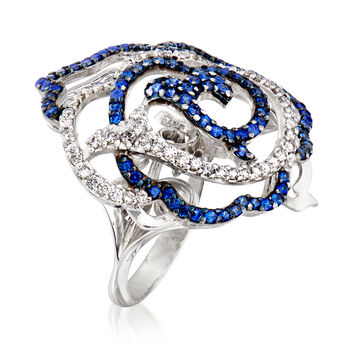 C. 1990 Vintage Piero Milano 2.00 ct. t.w. Sapphire and .45 ct. t.w. Diamond Flower Ring in 18kt White Gold. Size 7, , default