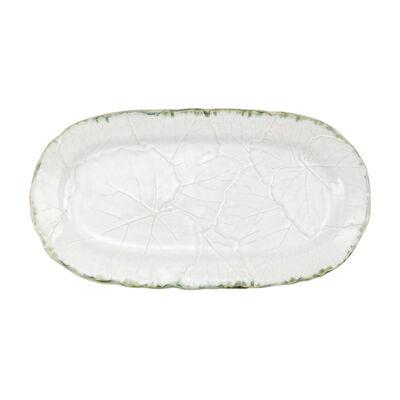 "Vietri ""Foglia"" White Small Oval Platter from Italy"