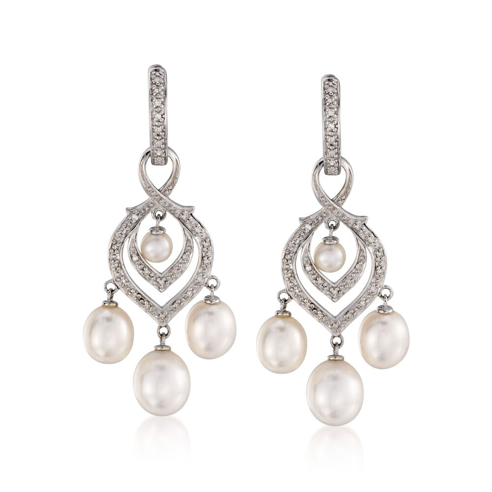 4 8 5mm Cultured Pearl And Diamond Chandelier Earrings With Removable Drops In Sterling Silver