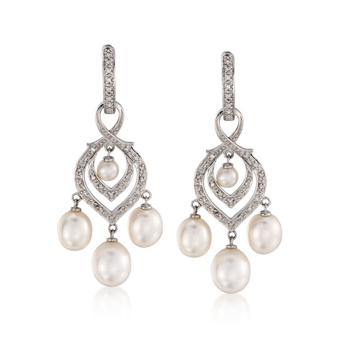4-8.5mm Cultured Pearl and Diamond Chandelier Earrings With Removable Drops in Sterling Silver, , default