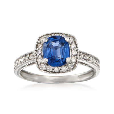 C. 2000 Vintage 1.40 Carat Sapphire and .30 ct. t.w. Diamond Halo Ring in 14kt White Gold, , default