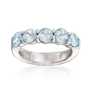 2.80 ct. t.w. Blue Topaz Five-Stone Ring in Sterling Silver, , default