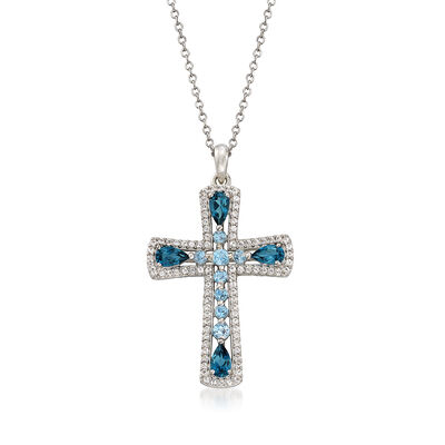 1.50 ct. t.w. London and Swiss Blue Topaz Cross Pendant Necklace with White Topaz in Sterling Silver, , default