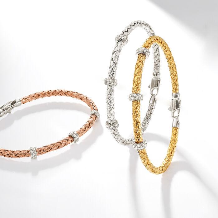 Simon G. .32 ct. t.w. Diamond Three-Station Woven Bangle Bracelet in 18kt Rose Gold