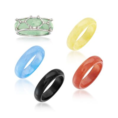 Multicolored Jade Jewelry Set: Five Interchangeable Bands with Sterling Silver Ring Jacket