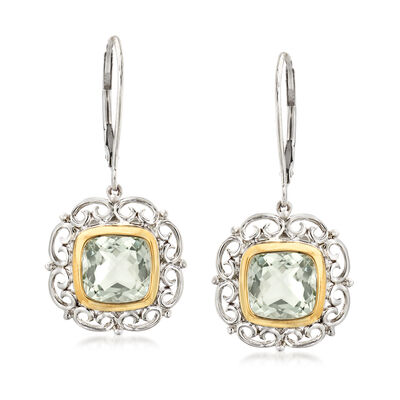 4.10 ct. t.w. Prasiolite Drop Earrings in Sterling Silver with 14kt Yellow Gold