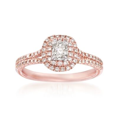 Henri Daussi .59 ct. t.w. Diamond Engagement Ring in 14kt Rose Gold, , default