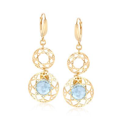 8.25 ct. t.w. Blue Topaz Filigree Drop Earrings in 18kt Gold Over Sterling, , default