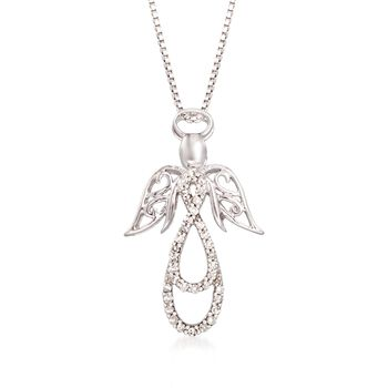 ".13 ct. t.w. Diamond Angel Pendant Necklace in Sterling Silver. 18"", , default"