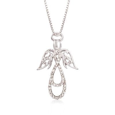 .13 ct. t.w. Diamond Angel Pendant Necklace in Sterling Silver, , default