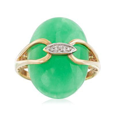 Green Jade Ring With Diamond Accents in 14kt Yellow Gold, , default